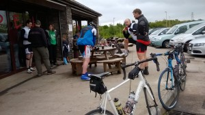 Time for a pause and a bacon bap (for some!) at the café on top of Caerphilly Mountain!